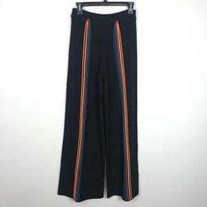 Iorane black wide leg rainbow stripe lounge pants